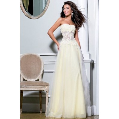 princess a line strapless long ivory tulle lace beaded