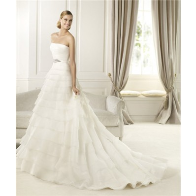 Princess A Line Strapless Tiered Organza Ruffle Wedding Dress With Crystal Sash
