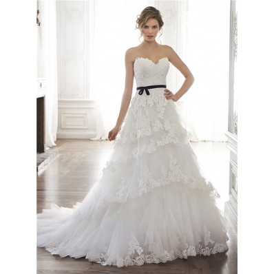 Princess A Line Strapless Tulle Lace Tiered Wedding Dress With Black Sash