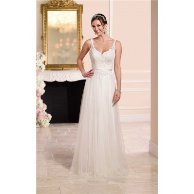 Princess A Line Sweetheart Open Back Tulle Lace Wedding Dress With Belt