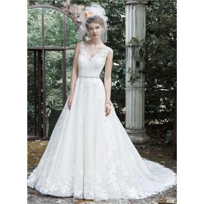 Princess A Line V Neck Open Back Tulle Lace Wedding Dress With Crystals Belt