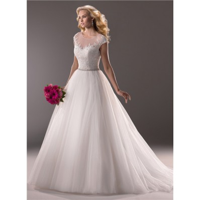 Princess Ball Gown Illusion Neckline Tulle Lace Wedding Dress With Sheer Back