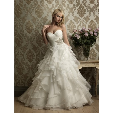 Princess Ball Gown Sweetheart Layered Organza Ruffle Wedding Dress With Beading