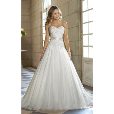 romantic a line sweetheart tulle lace corset wedding dress
