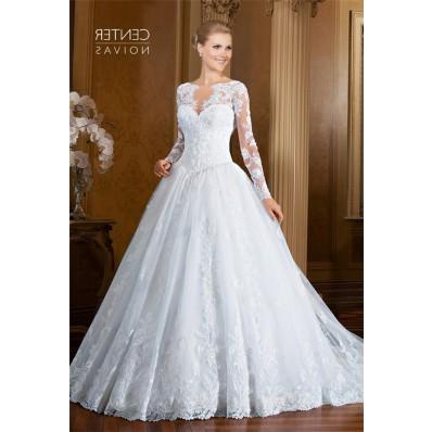 Romantic Ball Gown Drop Waist Long Sleeve Tulle Lace Wedding Dress