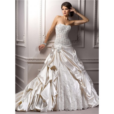 romantic ball gown strapless champagne satin lace beaded
