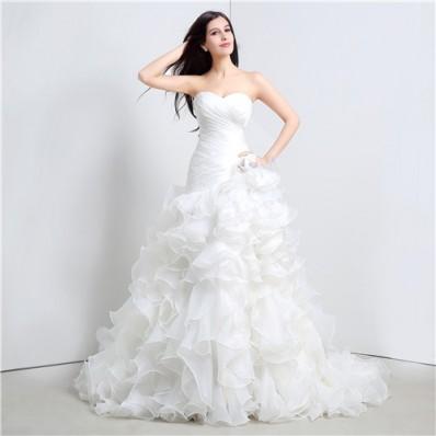 Romantic Trumpet Strapless Corset Organza Ruffle Wedding Dress Chapel Train
