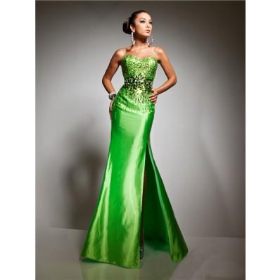 Royal Mermaid Sweetheart Long Lime Green Taffeta Prom Dress With Beading Sequins