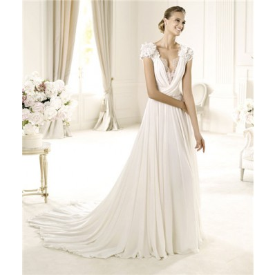 Sexy A Line Deep V Neck Cap Sleeve KeyHole Back Chiffon Wedding Dress