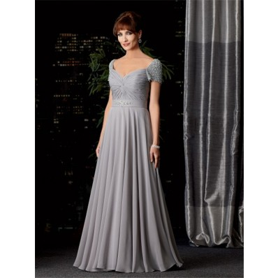 Sexy A line V neck long silver chiffon mother of the bride dress