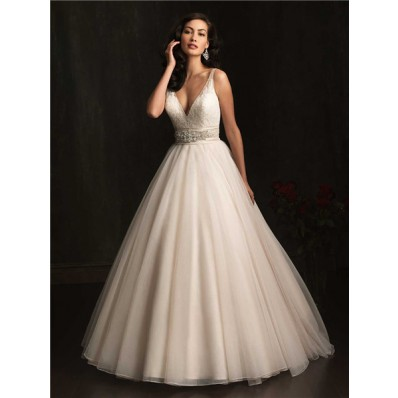 Sexy Ball Gown Deep V Neck Sheer Straps Organza Wedding Dress With Crystals Belt
