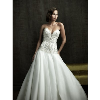 Sexy Ball Gown Sweetheart Cleavage Tulle Satin Wedding Dress With Embroidery Beading