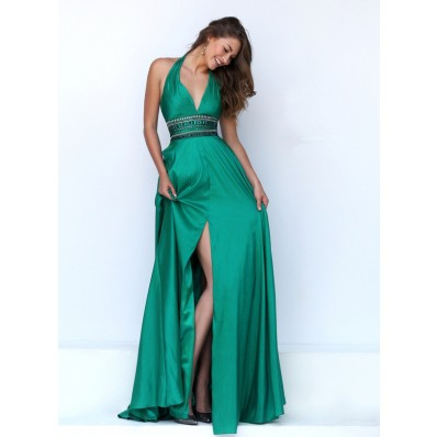 Sexy Halter Front High Slit Long Emerald Green Silk Beaded Prom Dress