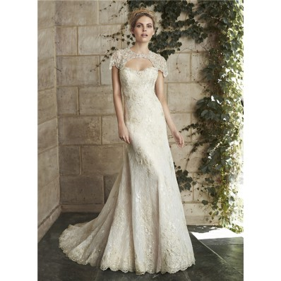 Sexy Mermaid Cap Sleeve Cut Out Backless Champagne Lace Beaded Wedding Dress