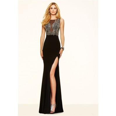Sexy Mermaid High Slit Sheer Tulle Long Black Chiffon Beaded Prom Dress