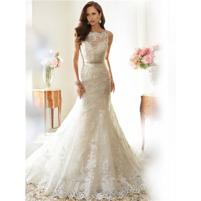Sexy Mermaid Scalloped Boat Neckline Backless Lace Crystal Corset Wedding Dress