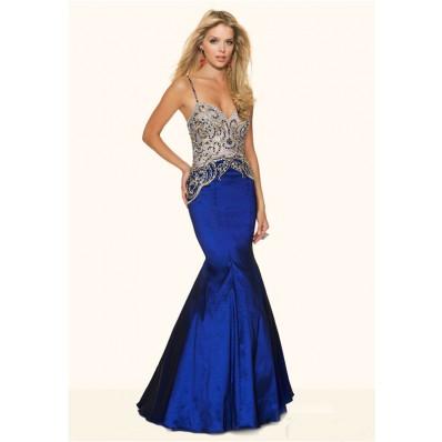 Sexy Mermaid Sweetheart Low Back Royal Blue Taffeta Beaded Prom Dress Spaghetti Straps