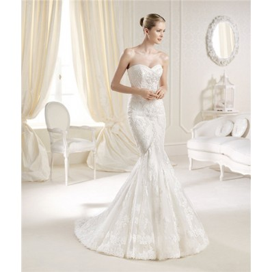 Sexy Mermaid Sweetheart Neckline Venice Lace Wedding Dress Sweep Train