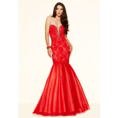 Sexy Mermaid Sweetheart Plunging Neckline Red Tulle Lace Corset Prom Dress