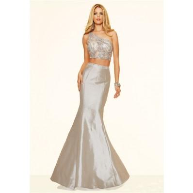 Sexy Mermaid Two Piece One Shoulder Silver Taffeta Beaded Prom Dress
