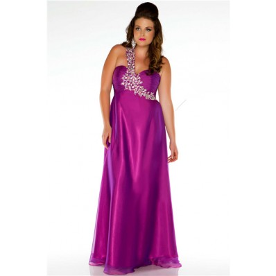Sexy One Shoulder Long Purple Chiffon Beaded Plus Size Party Prom Dress