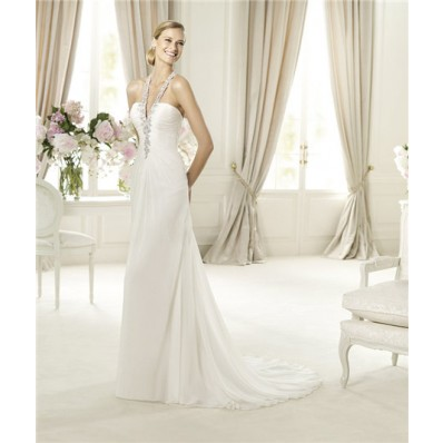 Sexy Sheath Halter Low Back Ruched Chiffon Beaded Wedding Dress
