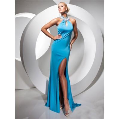 Sexy Sheath High Neck Long Blue Chiffon Prom Dress With Open Back Beaded Rhinestones Slit