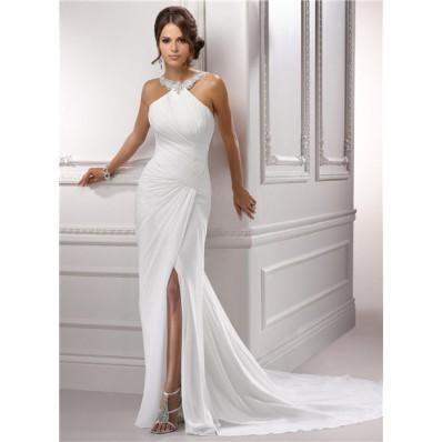 Sexy Sheath Jeweled Halter Ruched Chiffon Wedding Dress With Slit