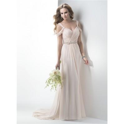 Sexy Sweetheart Low Back Chiffon Draped Wedding Dress With Straps