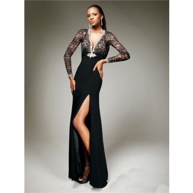 Sexy Tight V Neck Backless Long Black Chiffon Lace Evening Prom Dress With Long Sleeve