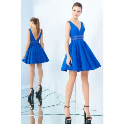 Sexy V Neck Low Back Royal Blue Satin Beaded Cocktail Prom Dress