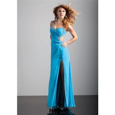 Sexy sheath one strap backless long blue chiffon prom dress with split