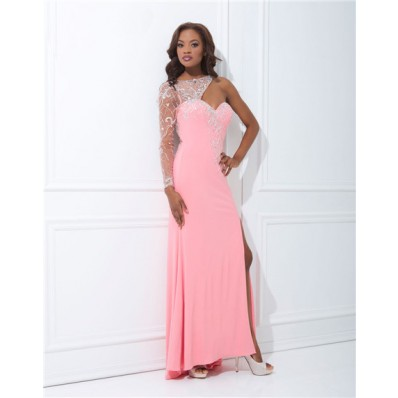 Sheath Asymmetrical One Shoulder Long Sheer Tulle Sleeve Pink Chiffon Prom Dress