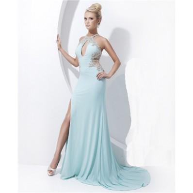 Sheath High Neck Cut Out Sheer Back Long Baby Blue Chiffon Beading Prom Dress Slit