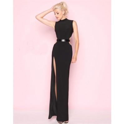 Sheath High Neck Side Cut Outs Slit Black Jersey Evening Prom Dress Metal Belt