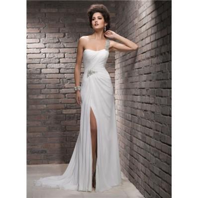 Sheath One Shoulder Swarovski Crystal Chiffon Wedding Dress With Slit Strap