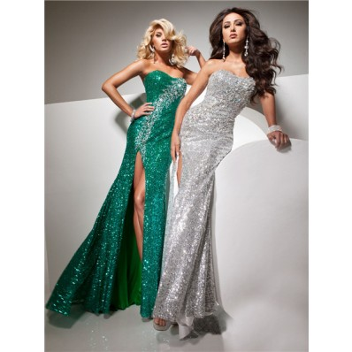 Sheath Strapless Long Silver Sequins Glitter Evening Prom Dress With Beading