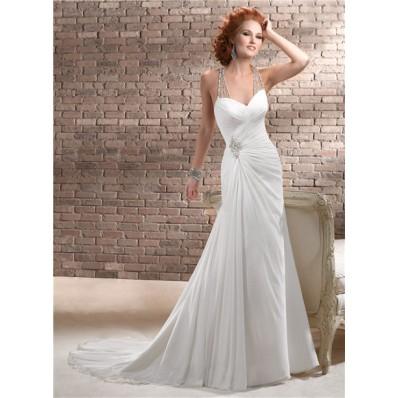 Sheath Sweetheart Ruched Chiffon Wedding Dress With Illusion Crystals Back