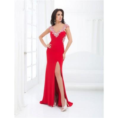 Sheath V Neck Cap Sleeve Backless Long Red Chiffon Beaded Prom Dress With Split Open Back