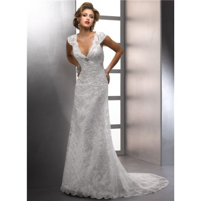 Sheath V Neck Cap Sleeve Destination Beach Lace Wedding Dress With Crystal Buttons