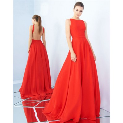 Simple A Line High Neck Backless Neon Orange Chiffon Evening Prom Dress