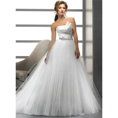 Simple A Line/Princess Asymmetrical Beading Crystals Tulle Wedding Dress With Low Back