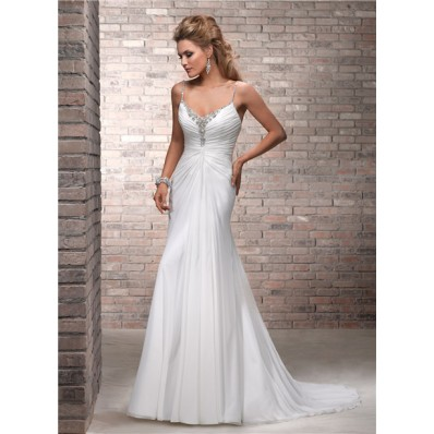 Simple A Line Spaghetti Strap Ruched Chiffon Beaded Wedding Dress Low Back