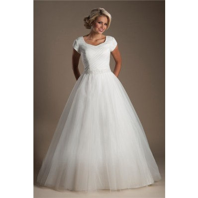 Simple Ball Gown Cap Sleeve Tulle Ruched Modest Wedding Dress With Beading Belt