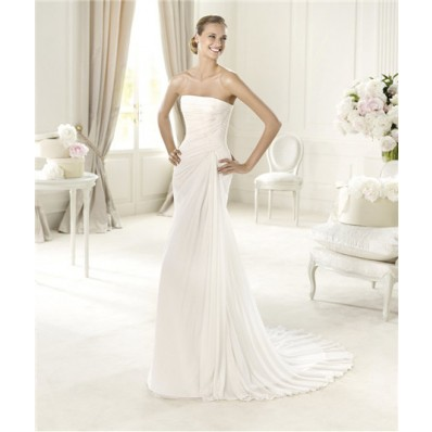 Simple Causual Sheath Strapless Corset Back Ruched Chiffon Wedding Dress