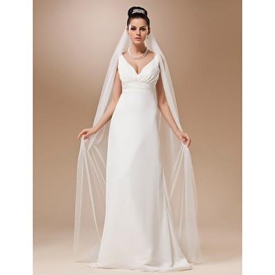 Simple Elegant One Layer Plain Tulle Chapel Wedding Bridal Veil
