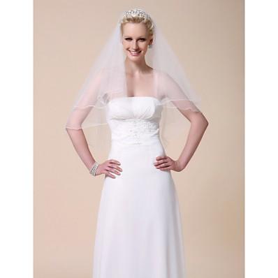 Simple Elegant Two Tier Elbow Tulle Wedding Bridal Veil