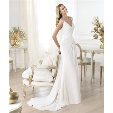 Simple Sheath V Neck Ruched Chiffon Destination Wedding Dress 2014