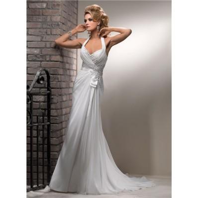 Slim A Line Halter Corset Back Chiffon Beach Wedding Dress With Lace Pearls