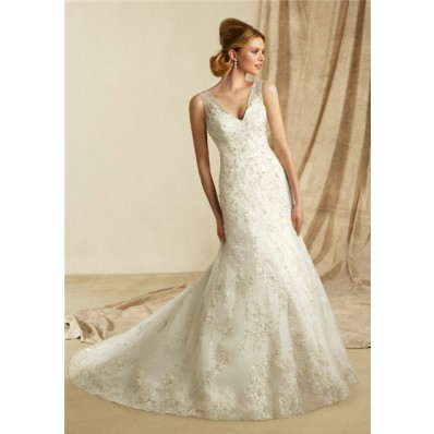 Slim A Line V Neck Sheer Straps Lace Beaded Wedding Dress With Buttons